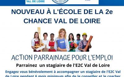 E2C Val de Loire lance le parrainage une entreprise – un stagiaire de l'École de la Deuxième Chance.