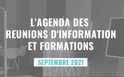Agenda des formations et réunions d'information du mois de septembre 2021